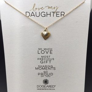 """Dogeared """"Love My Daughter"""" Double Heart Necklace"""